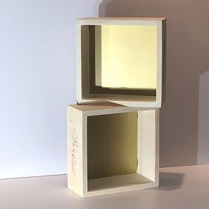 "Two Ivory Shadow Box Wall Decoration 8""x8""x3.5"""